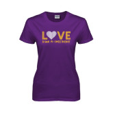 Ladies Purple T Shirt-Love Sigma Pi Sweetheart Lines