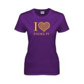 Ladies Purple T Shirt-I Love Sigma Pi