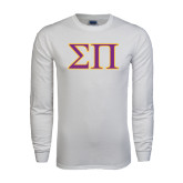 White Long Sleeve T Shirt-Greek Letters Two Tone