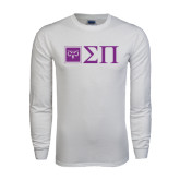 White Long Sleeve T Shirt-Horizontal Logomark w/Letters