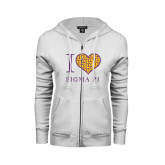 ENZA Ladies White Fleece Full Zip Hoodie-I Love Sigma Pi