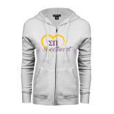 ENZA Ladies White Fleece Full Zip Hoodie-Script Sweetheart w/ Heart