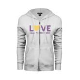 ENZA Ladies White Fleece Full Zip Hoodie-Love Sigma Pi Sweetheart Lines