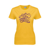 Ladies Gold T Shirt-All You Need Is Love