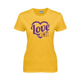 Ladies Gold T Shirt-Love in Heart