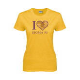 Ladies Gold T Shirt-I Love Sigma Pi