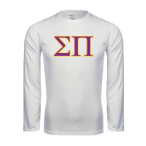 Performance White Longsleeve Shirt-Greek Letters Two Tone