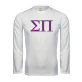 Syntrel Performance White Longsleeve Shirt-Greek Letters Two Tone