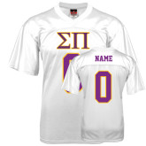 Replica White Adult Football Jersey-Greek Letters Personalized