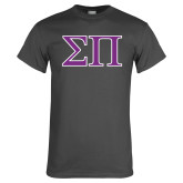 Charcoal T Shirt-Greek Letters Two Tone