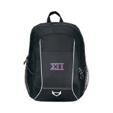 Atlas Black Computer Backpack-Greek Letters Two Tone