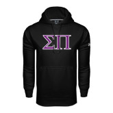 Under Armour Black Performance Sweats Team Hoodie-Greek Letters Two Tone