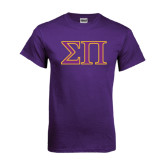 Purple T Shirt-Greek Letters Two Tone