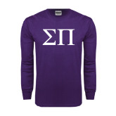 Purple Long Sleeve T Shirt-Greek Letters