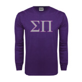Purple Long Sleeve T Shirt-Greek Letters Two Tone
