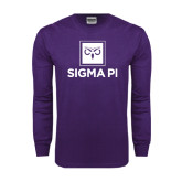 Purple Long Sleeve T Shirt-Vertical Logomark w/Text