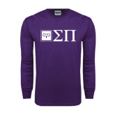 Purple Long Sleeve T Shirt-Horizontal Logomark w/Letters