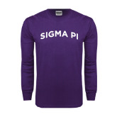 Purple Long Sleeve T Shirt-Arched Sigma Pi