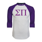 White/Purple Raglan Baseball T Shirt-Greek Letters