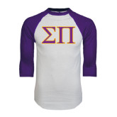 White/Purple Raglan Baseball T Shirt-Greek Letters Two Tone