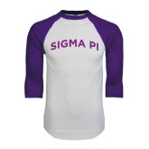 White/Purple Raglan Baseball T Shirt-Arched Sigma Pi