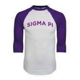 White/Purple Raglan Baseball T Shirt-Arched Sigma Pi