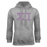 Grey Fleece Hoodie-Greek Letters Two Tone