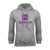 Grey Fleece Hoodie-Vertical Logomark w/Text