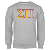 Grey Fleece Crew-Greek Letters Two Tone