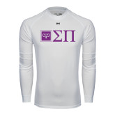 Under Armour White Long Sleeve Tech Tee-Horizontal Logomark w/Letters
