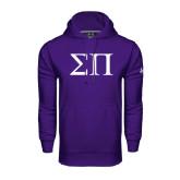 Under Armour Purple Performance Sweats Team Hood-Greek Letters