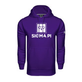 Under Armour Purple Performance Sweats Team Hoodie-Vertical Logomark w/Text