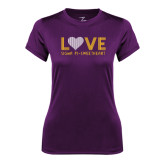 Ladies Syntrel Performance Purple Tee-Love Sigma Pi Sweetheart Lines