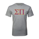 Grey T Shirt-Greek Letters Two Tone