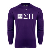 Under Armour Purple Long Sleeve Tech Tee-Horizontal Logomark w/Letters