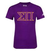 Adidas Purple Logo T Shirt-Greek Letters Two Tone