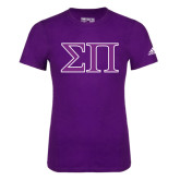 Adidas Purple Logo T Shirt-Greek Letters Two Tone