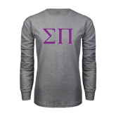 Grey Long Sleeve T Shirt-Greek Letters Two Tone