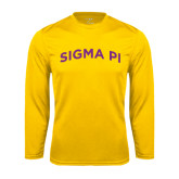 Performance Gold Longsleeve Shirt-Arched Sigma Pi