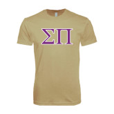 Next Level SoftStyle Khaki T Shirt-Greek Letters Two Tone