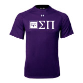 Under Armour Purple Tech Tee-Horizontal Logomark w/Letters