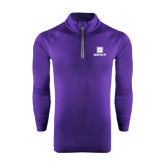Under Armour Purple Tech 1/4 Zip Performance Shirt-Vertical Logomark w/Text