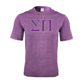 Performance Purple Heather Contender Tee-Greek Letters Two Tone