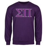 Purple Fleece Crew-Greek Letters Two Tone