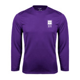 Performance Purple Longsleeve Shirt-Vertical Logomark w/Letters