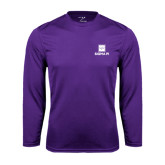Performance Purple Longsleeve Shirt-Vertical Logomark w/Text