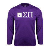 Performance Purple Longsleeve Shirt-Horizontal Logomark w/Letters