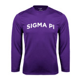 Performance Purple Longsleeve Shirt-Arched Sigma Pi
