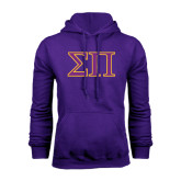 Purple Fleece Hoodie-Greek Letters Two Tone