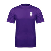 Performance Purple Tee-Vertical Logomark w/Letters